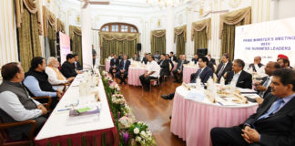 The Prime Minister, Shri Narendra Modi with the business leaders and captains of industry, for a discussion on issues such as economic growth, infrastructure development, policy initiatives, investment, innovation and job creation, in Mumbai on June 26, 2018.