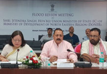 The Union Minister of State (Independent Charge) Development of North-Eastern Region (DoNER), MoS PMO, Personnel, Public Grievances & Pensions, Atomic Energy and Space, Dr Jitendra Singh chairing a meeting to review the flood situation, in Guwahati, Assam, on June 26, 2018.