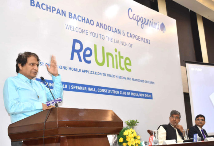 The Union Minister for Commerce & Industry and Civil Aviation, Shri Suresh Prabhakar Prabhu addressing at the launch of the Mobile Application 'ReUnite' by Bachpan Bachao Andolan', in New Delhi on June 29, 2018.