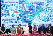 The Prime Minister, Shri Narendra Modi launching the various healthcare projects, at AIIMS, in New Delhi on June 29, 2018. The Union Minister for Health & Family Welfare, Shri J.P. Nadda, the Ministers of State for Health & Family Welfare, Shri Ashwini Kumar Choubey and Smt. Anupriya Patel and other dignitaries are also seen.