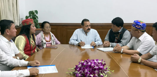 The Minister of State for Development of North Eastern Region (I/C), Prime Minister's Office, Personnel, Public Grievances & Pensions, Atomic Energy and Space, Dr. Jitendra Singh at a meeting with a delegation of Sikkim Tribals, in New Delhi on June 30, 2018.