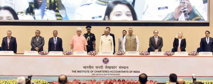 The President, Shri Ram Nath Kovind at the inauguration of the platinum jubilee celebrations of the Institute of Chartered Accountants of India (ICAI), in New Delhi on July 01, 2018. The Minister of State for Communications (I/C) and Railways, Shri Manoj Sinha, the Minister of State for Law & Justice and Corporate Affairs, Shri P.P. Chaudhary and other dignitaries are also seen.