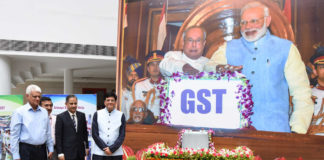"""The Union Minister for Railways, Coal, Finance and Corporate Affairs, Shri Piyush Goyal on completion of First Year of implementation of historic tax reform of GST, to mark the occasion, 1st July, 2018 to be celebrated as the """"GST DAY"""", in New Delhi on July 01, 2018."""