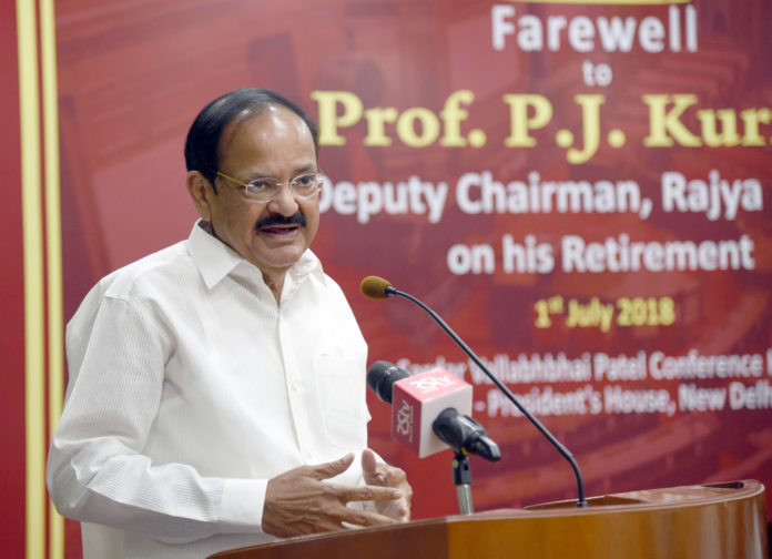The Vice President, Shri M. Venkaiah Naidu addressing the gathering at an event to give farewell to the Deputy Chairman of Rajya Sabha, Prof. P.J. Kurien, in New Delhi on July 01, 2018.