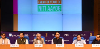 The Vice Chairman, NITI Aayog, Dr. Rajiv Kumar addressing a press conference on key initiatives and achievements of NITI Aayog, in New Delhi on July 03, 2018. The CEO, NITI Aayog, Shri Amitabh Kant, the Director General (M&C), Press Information Bureau, Shri Sitanshu R. Kar and other dignitaries are also seen.