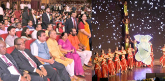 """The Union Minister for Road Transport & Highways, Shipping and Water Resources, River Development & Ganga Rejuvenation, Shri Nitin Gadkari at a Cultural Evening of 50th Foundation Day Celebration of WAPCOS - """"Experience, Expertise- Excellence"""", in New Delhi on July 03, 2018. The Minister of State for Human Resource Development and Water Resources, River Development and Ganga Rejuvenation, Dr. Satya Pal Singh and other dignitaries are also seen."""