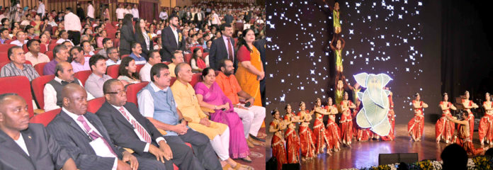 "The Union Minister for Road Transport & Highways, Shipping and Water Resources, River Development & Ganga Rejuvenation, Shri Nitin Gadkari at a Cultural Evening of 50th Foundation Day Celebration of WAPCOS - ""Experience, Expertise- Excellence"", in New Delhi on July 03, 2018. The Minister of State for Human Resource Development and Water Resources, River Development and Ganga Rejuvenation, Dr. Satya Pal Singh and other dignitaries are also seen."