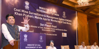 "The Union Minister for Railways, Coal, Finance and Corporate Affairs, Shri Piyush Goyal addressing at the launch of the Coal Mine Surveillance & Management System (CMSMS) and Mobile App ""Khan Prahari"", in New Delhi on July 04, 2018. The Secretary, Ministry of Coal, Shri Inderjit Singh and other dignitaries are also seen."