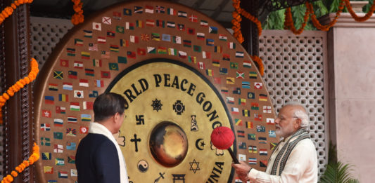 The Prime Minister, Shri Narendra Modi along with the President of the Republic of Korea, Mr. Moon Jae-in visit the World Peace Gong, at the Gandhi Smriti, in New Delhi on July 09, 2018.