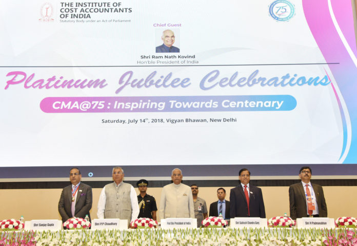 The President, Shri Ram Nath Kovind at the Platinum Jubilee Celebrations of the Institute of the Cost Accountants of India (ICMAI), in New Delhi on July 14, 2018. The Minister of State for Law & Justice and Corporate Affairs, Shri P.P. Chaudhary, the Secretary, Department of Economic Affairs, M/o Finance, Shri Subhash Chandra Garg and other dignitaries are also seen.