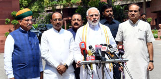The Prime Minister, Shri Narendra Modi addressing the media ahead of the Monsoon Session of Parliament, in New Delhi on July 18, 2018. The Union Minister for Chemicals & Fertilizers and Parliamentary Affairs, Shri Ananth Kumar, the Minister of State for Development of North Eastern Region (I/C), Prime Minister's Office, Personnel, Public Grievances & Pensions, Atomic Energy and Space, Dr. Jitendra Singh, the Minister of State for Parliamentary Affairs and Statistics & Programme Implementation, Shri Vijay Goel and the Minister of State for Parliamentary Affairs, Water Resources, River Development and Ganga Rejuvenation, Shri Arjun Ram Meghwal are also seen.