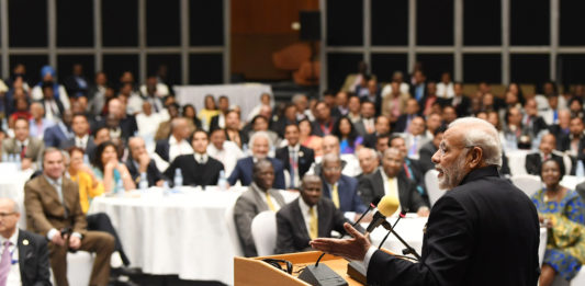 The Prime Minister, Shri Narendra Modi addressing the India - Uganda Business Forum, organised by the CII and Private Sector Foundation Uganda, in Kampala, Uganda on July 25, 2018.