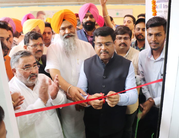 The Union Minister for Petroleum & Natural Gas and Skill Development & Entrepreneurship, Shri Dharmendra Pradhan inaugurating the India's 1st Inclusive Pradhan Mantri Kaushal Kendra (PMKK), at Sahibzada Ajit Singh Nagar (Mohali), in Punjab on July 28, 2018.