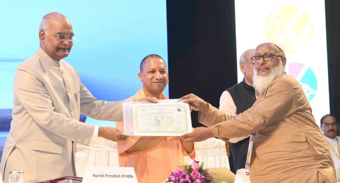 The President, Shri Ram Nath Kovind at the inauguration of the 'One District One Product' Summit, at Lucknow, in Uttar Pradesh on August 10, 2018. The Chief Minister of Uttar Pradesh, Yogi Adityanath is also seen.