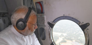 The Prime Minister, Shri Narendra Modi conducting an aerial survey of flood affected areas, in Kerala on August 18, 2018.