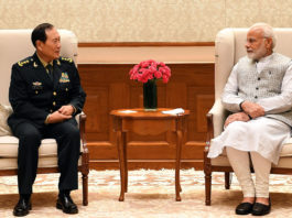 The Defence Minister of China, General Wei Fenghe calling on the Prime Minister, Shri Narendra Modi, in New Delhi on August 21, 2018.
