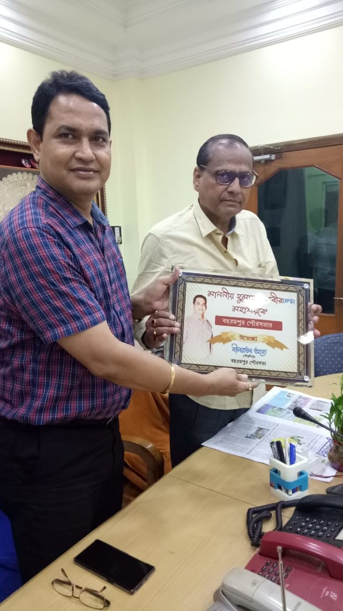 Humayun Kabir President Nabachetona Honored by Baharampur Municipality' Counselor Mr. Addya