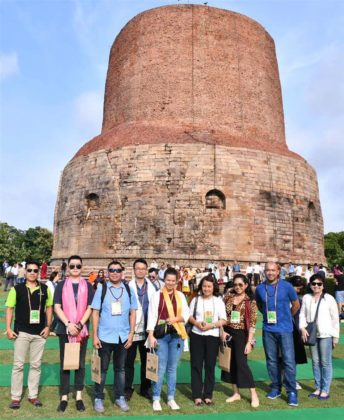 The delegates of the International Buddhist Conclave – 2018 visiting the Sarnath Stupa, at Varanasi, in Uttar Pradesh on August 26, 2018.