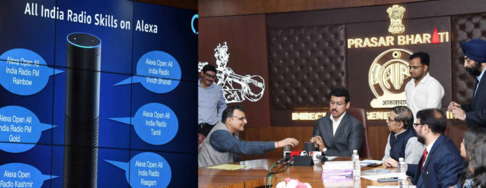 The Minister of State for Youth Affairs & Sports and Information & Broadcasting (I/C), Col. Rajyavardhan Singh Rathore launching the All India Radio streaming services on Amazon Alexa Smart Speakers, in New Delhi on September 28, 2018. The Chairman, Prasar Bharati, Dr. A. Surya Prakash, the CEO Prasar Bharati, Dr. Shashi Shekhar Vempati and the Director General, AIR, Shri F. Sheheryar are also seen.