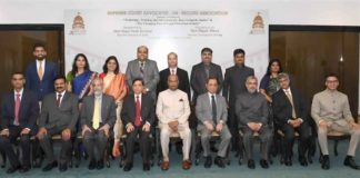 The President, Shri Ram Nath Kovind in a group photograph at the inauguration of the National Conference, organised by the Supreme Court Advocates-on-record Association (SCAORA), in New Delhi on September 01, 2018. The Chief Justice of India, Justice Shri Dipak Misra and other dignitaries are also seen.