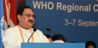 The Union Minister for Health & Family Welfare, Shri J.P. Nadda addressing at the '71st Session of the WHO Regional Committee for South-East Asia', in New Delhi on September 03, 2018.