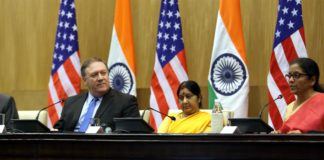 The Union Minister for Defence, Smt. Nirmala Sitharaman, the Union Minister for External Affairs, Smt. Sushma Swaraj along with the US Secretary of Defence, Mr. James Mattis and the US Secretary of State, Mr. Michael R. Pompeo, at the joint press conference, during the '2+2 Bilateral Dialogue' between the two countries, in New Delhi on September 06, 2018.