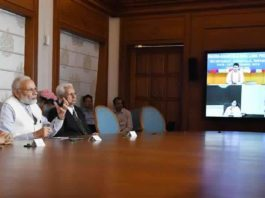 The Prime Minister, Shri Narendra Modi, the Prime Minister of Bangladesh, Ms. Sheikh Hasina, the Chief Minister of West Bengal, Ms. Mamata Banerjee and the Chief Minister of Tripura, Shri Biplab Kumar Deb jointly dedicate three projects in Bangladesh via Video Conference, in New Delhi on September 10, 2018.