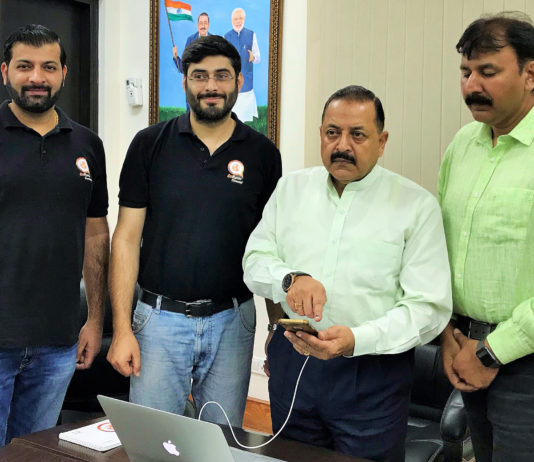 "The Minister of State for Development of North Eastern Region (I/C), Prime Minister's Office, Personnel, Public Grievances & Pensions, Atomic Energy and Space, Dr. Jitendra Singh launching the Northeast Tourism app, developed by a young ""Start-Up"" group, in New Delhi on October 14, 2018."