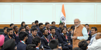 The Prime Minister, Shri Narendra Modi interacting with the medal winners of the 2018 Asian Para Games, in New Delhi on October 16, 2018.