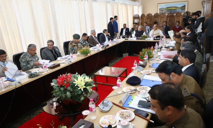 The Union Home Minister, Shri Rajnath Singh reviewing the security and development of Jammu and Kashmir at a high level meeting, in Srinagar on October 23, 2018.