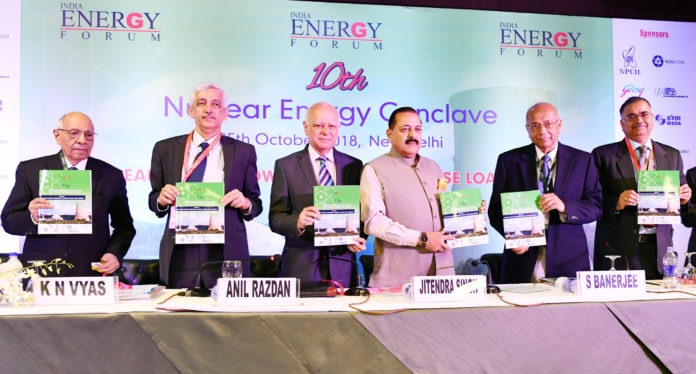 The Minister of State for Development of North Eastern Region (I/C), Prime Minister's Office, Personnel, Public Grievances & Pensions, Atomic Energy and Space, Dr. Jitendra Singh releasing a booklet at the inauguration of the 10th Nuclear Energy Conclave on the theme: 'Nuclear Power- Towards a Clean & Base Load Energy', in New Delhi on October 25, 2018. The Chairman AEC and Secretary, Department of Atomic Energy (DAE), Dr. K.N. Vyas and other dignitaries are also seen.