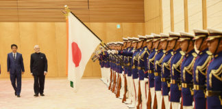 The Prime Minister, Shri Narendra Modi inspecting the Guard of Honour, during ceremonial welcome, in Tokyo, Japan on October 29, 2018. The Prime Minister of Japan, Mr. Shinzo Abe is also seen.