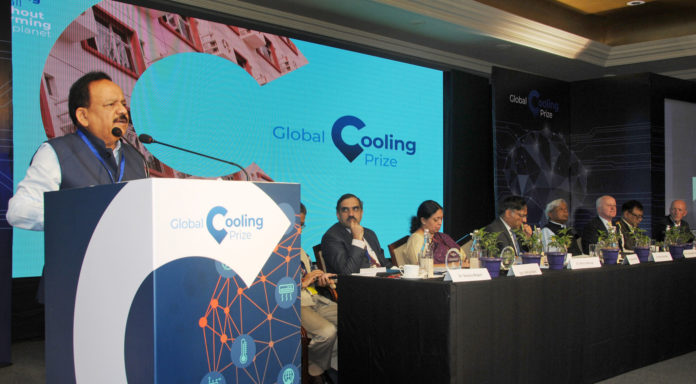 The Union Minister for Science & Technology, Earth Sciences and Environment, Forest & Climate Change, Dr. Harsh Vardhan addressing at the inauguration of the Global Cooling Innovation Summit & Global Cooling Prize, in New Delhi on November 12, 2018.