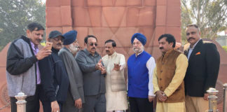 "The Minister of State for Culture (I/C) and Environment, Forest & Climate Change, Dr. Mahesh Sharma along with the Minister of State for Housing and Urban Affairs (I/C), Shri Hardeep Singh Puri inspecting the site at Jallianwala Bagh as the Govt. prepares to observe the remembrance of ""100 years of Jallianwala Bagh Massacre"" in 2019, in Amritsar, Punjab on November 23, 2018."