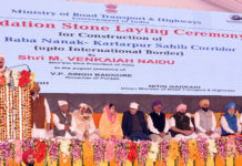 The Vice President, Shri M. Venkaiah Naidu addressing the gathering after laying foundation stone for Kartarpur Corridor, in Gurdaspur, Punjab on November 26, 2018. The Governor of Punjab & the Administrator of Chandigarh, Shri V.P. Singh Badnore, the Union Minister for Road Transport & Highways, Shipping and Water Resources, River Development & Ganga Rejuvenation, Shri Nitin Gadkari, the Union Minister for Food Processing Industries, Smt. Harsimrat Kaur Badal, the Chief Minister of Punjab, Captain Amarinder Singh, the Minister of State for Housing and Urban Affairs (I/C), Shri Hardeep Singh Puri, the Minister of State for Social Justice & Empowerment, Shri Vijay Sampla and other dignitaries are also seen.