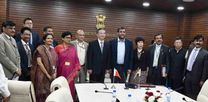 The Commerce Secretary, Dr. Anup Wadhawan with the Vice Minister, General Administration of Customs, People's Republic of China, Mr. Hu Wei during a meeting, in New Delhi on November 28, 2018.