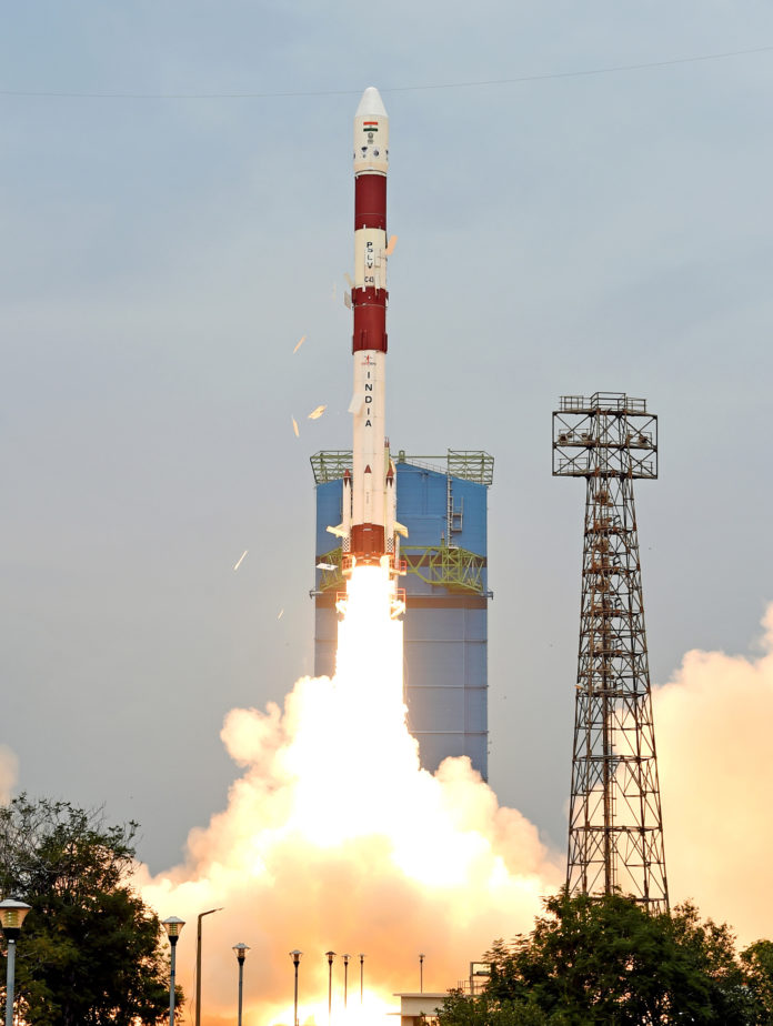 "PSLV C-43, carrying Indian Earth Observation Satellite ""HysIS"" and 30 foreign co-passenger satellites being launched from the First Launch Pad, at Satish Dhawan Space Centre, SHAR, Sriharikota, in Andhra Pradesh on November 29, 2018."