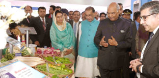 The President, Shri Ram Nath Kovind visiting after inaugurating the CII Agro Tech India 2018 Exhibition, in Chandigarh on December 01, 2018. The Union Minister for Agriculture and Farmers Welfare, Shri Radha Mohan Singh and the Union Minister for Food Processing Industries, Smt. Harsimrat Kaur Badal are also seen.