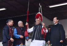 The Union Home Minister, Shri Rajnath Singh at the inauguration of Hornbill Festival, in Kohima, Nagaland on December 01, 2018. The Governor of Nagaland, Shri P.B. Acharya and the Chief Minister of Nagaland, Shri Neiphiu Rio are also seen.