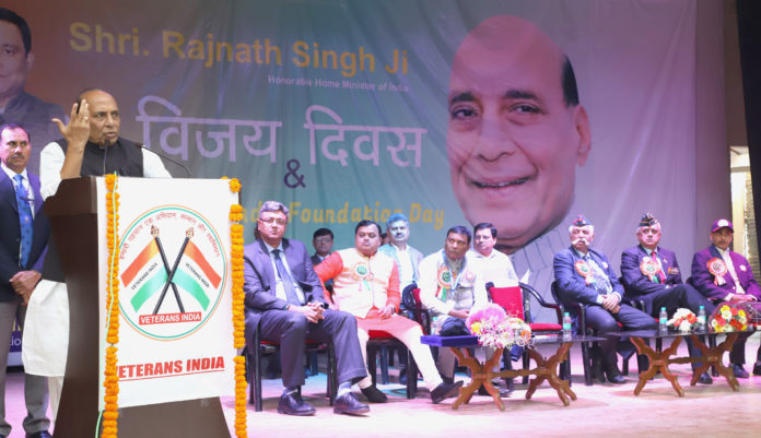 The Union Home Minister, Shri Rajnath Singh addressing at the inauguration of a Vijay Diwas function, in New Delhi on December 16, 2018.