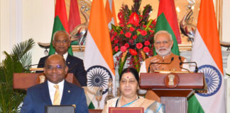 The Prime Minister, Shri Narendra Modi and the President of Maldives, Mr. Ibrahim Mohamed Solih witnessing the exchange of agreements between India and Maldives, at Hyderabad House, in New Delhi on December 17, 2018.