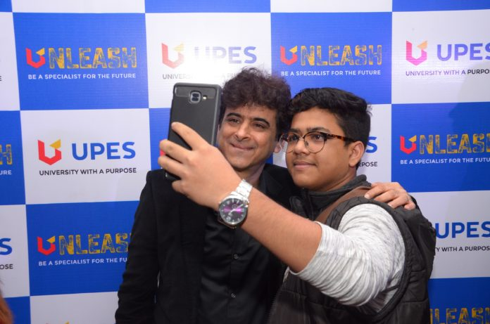 Palash Sen with a young fan at UPES Unleash event in the city