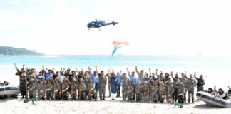 The Union Minister for Defence, Smt. Nirmala Sitharaman with the Tri-Services troops of Andaman & Nicobar Islands Command, at Port Blair on January 14, 2018.