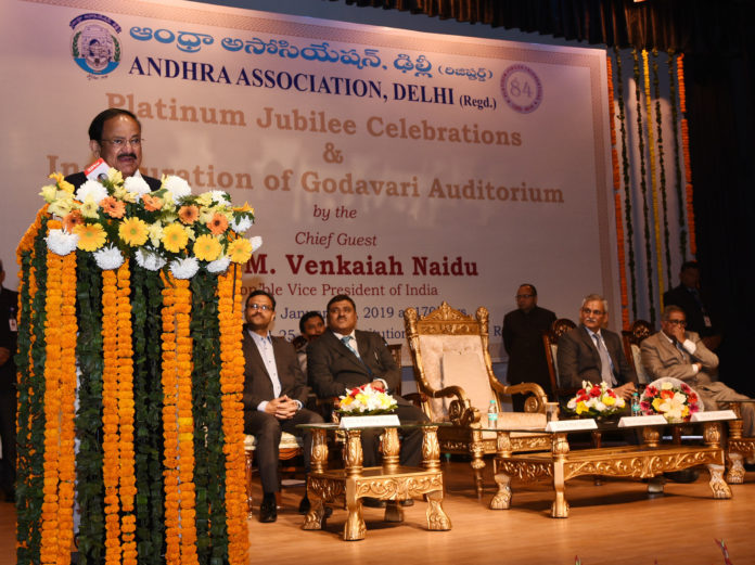 The Vice President, Shri M. Venkaiah Naidu addressing the gathering at the Platinum Jubilee Celebrations of Andhra Association, in New Delhi on January 27, 2019. The Central Vigilance Commissioner, Shri K.V. Chowdary and other dignitaries are also seen.