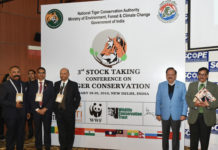 The Union Minister for Science & Technology, Earth Sciences and Environment, Forest & Climate Change, Dr. Harsh Vardhan at the inauguration of the 3rd Stock Taking Conference On Tiger Conservation, in New Delhi on January 28, 2019.