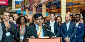 The Secretary, Ministry of Tourism, Shri Yogendra Tripathi addressing at the New York Times Travel Show 2019, in New York, USA on January 25, 2019.