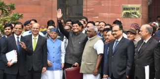 The Union Minister for Railways, Coal, Finance and Corporate Affairs, Shri Piyush Goyal departs from North Block to Rashtrapati Bhavan and Parliament House, along with the Minister of State for Finance and Shipping, Shri P. Radhakrishnan, the Minister of State for Finance, Shri Shiv Pratap Shukla and the senior officials to present the Interim Budget 2019-20, in New Delhi on February 01, 2019.