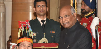 The President, Shri Ram Nath Kovind presenting the Sangeet Natak Akademi Awards for the year 2017, at the investiture ceremony, at Rashtrapati Bhavan, in New Delhi on February 06, 2019.