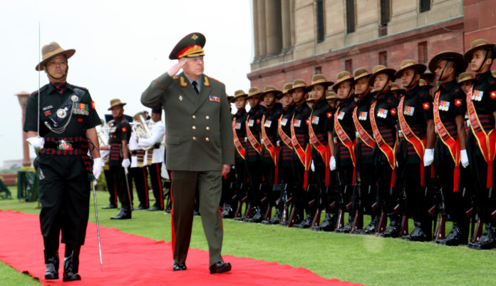 The Land Forces Cdr. Russian Federation, Col. Gen. Salyukov Oleg Leonidovich inspecting the Guard of Honour, in New Delhi on March 14, 2019.