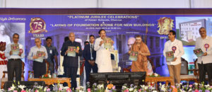 The Vice President, Shri M. Venkaiah Naidu releasing the souvenir at the Platinum Jubilee Celebrations of Kesari Schools, in Chennai on April 23, 2019. The Governor of Tamil Nadu, Shri Banwarilal Purohit and other dignitaries are also seen.